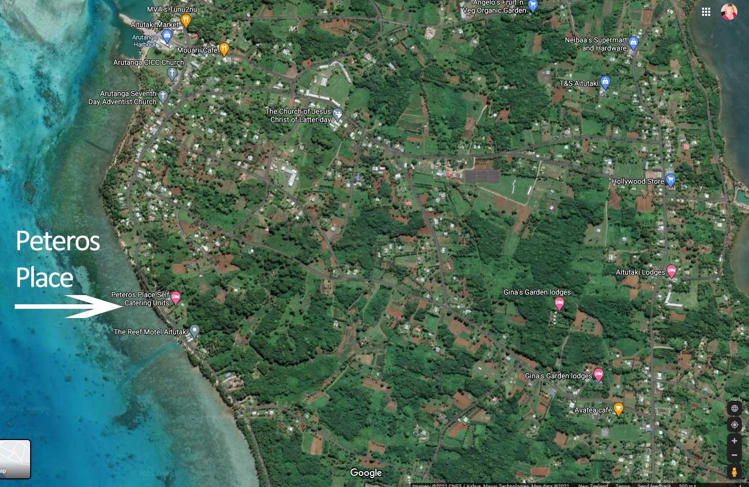 Satellite Map of Aitutaki